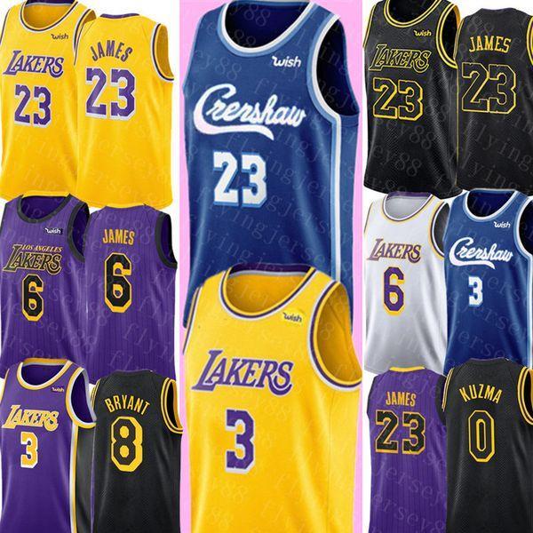 NCAA LeBron 23 James Jersey Crenshaw Anthony 3 Davis James Jersey University Kyle 0 Kuzma Basketball Jerseys S-XXL