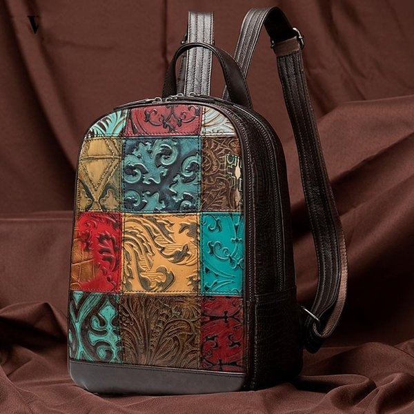 National style layer cow leather women's backpack handmade color collision large capacity Backpack