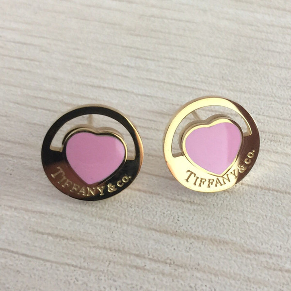Girls Brand 316L Titanium steel pink stud earring with Super Cute Lucky heart for women christmas gift Jewelry factory price Free shipping