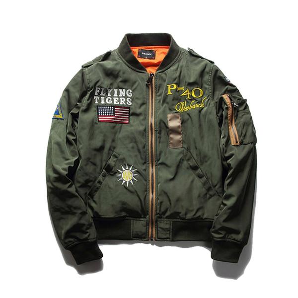 Hot Sale Mens Spring MA1 Pilot Bomber Jacket Thin Army Flying Tigers Cool Baseball Flight Jacket Plus Size M-4XL