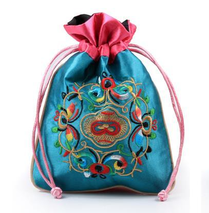 16.5x12CM jewelry bag,gift bag ,jewelry pouches,mixed color, silk bag handmade flower Chinese traditional style