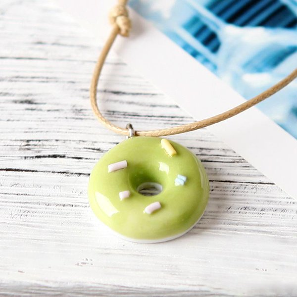 New Cartoon ceramic Donut small fresh Pendant necklaces leather Rope chains For women Girlfriend Fashion simple jewelry Gift
