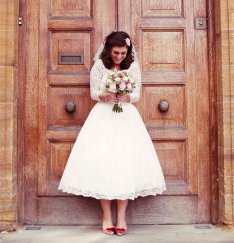 3/4 Long Sleeves Modest Short Lace Bridal Dresses 2019 Plus Size A Line Tea Length Princess Custom Made Wedding Gowns Vintage Transparent