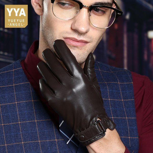 High Quality Luxury Male Gloves Genuine Leather Man Short Gloves Fleece Lining Solid Motorcycle Guantes Hombre Invierno