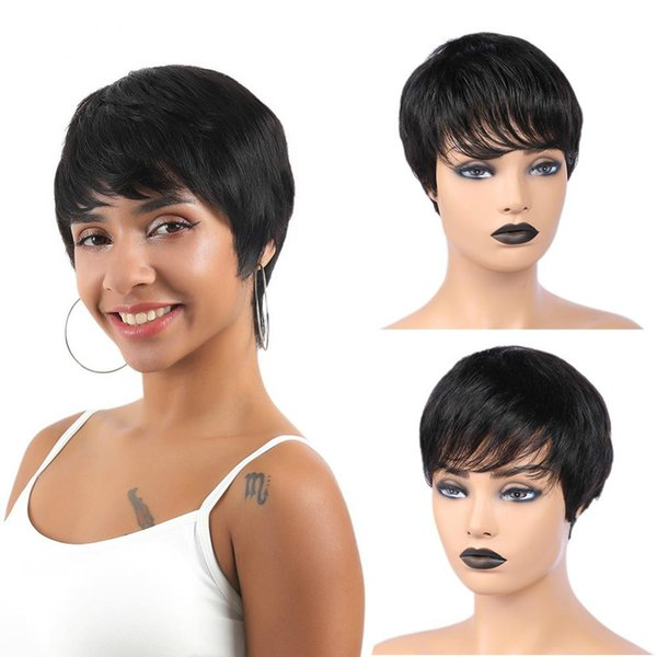 Short Human Hair Wigs Brazilian Remy Straight Wig Natural Black Color Short Wig With Bangs Mature Wig