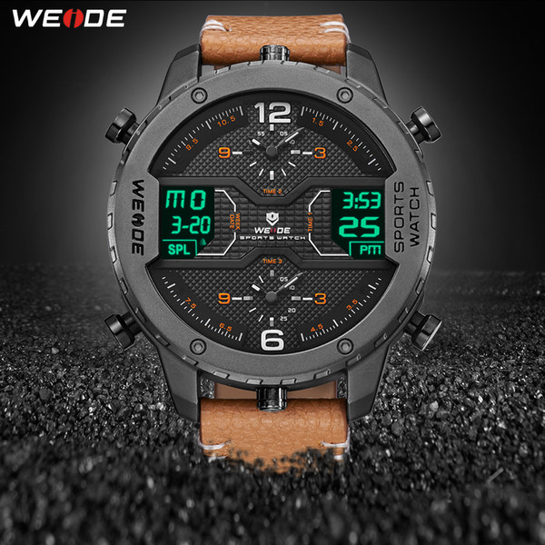 Weide Men's Sports Watch Analog Hands Digital Calendar Quartz Brown Leather Strap Wrist Watches Reloj Hombre 2019 Military Clock Y19051403