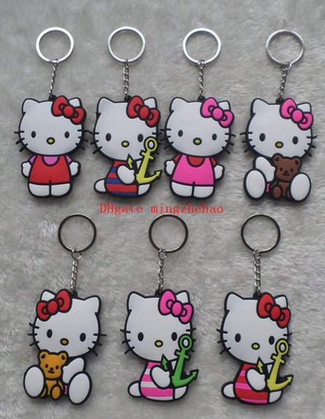 Lot 10 pcs Hello Kitty mix Double sided Rubber Cell Phone Straps Keyrings Key Chain Charm Pendants