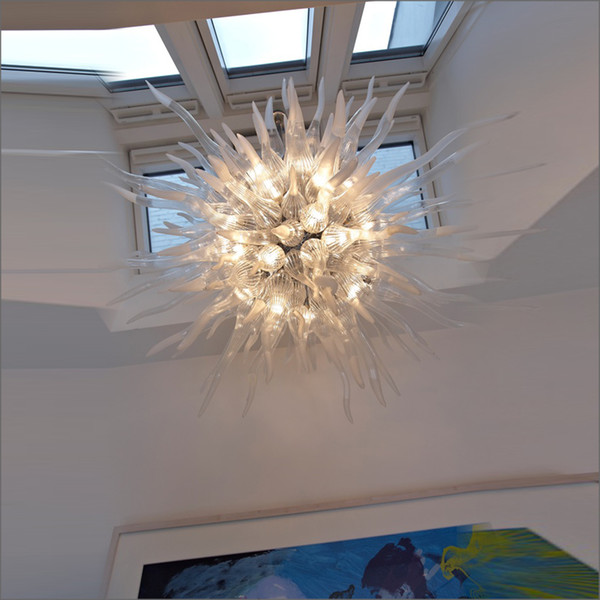 Unique Designed Handmade Blown Murano Glass Chandeliers European Style Flower Designed Blown Glass Chain Pendant Lamps for sale
