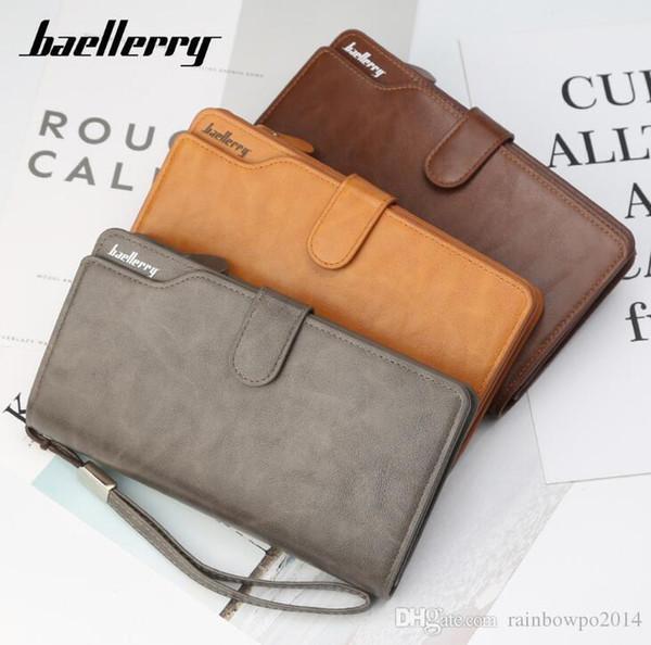 Fábrica propia marca hombres bolsa nueva cartera de tres veces billetera de cuero de gran capacidad cartera de moda de negocios cartera de cuero multifuncional