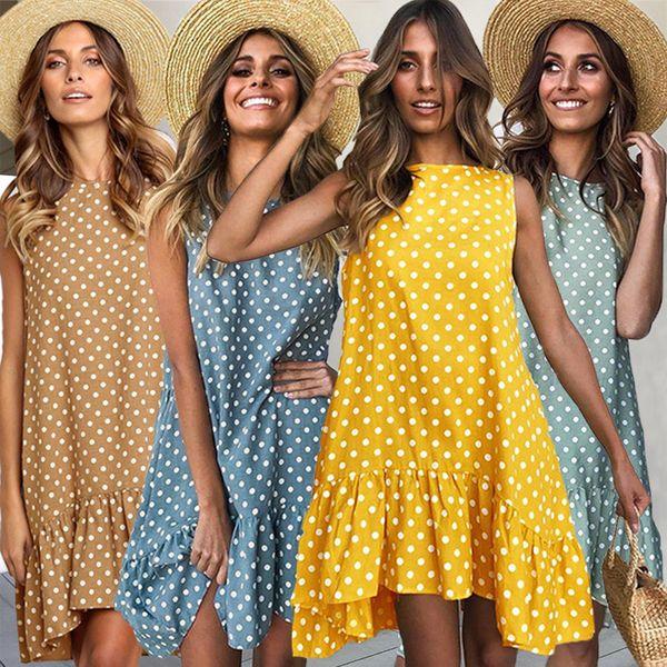 S-3XL Femmes Dots Imprimé Robe Sans Manches Flouncy D'été Robes D'été Falbala Gilet Réservoir Robe Partie Voyage Robes De Plage Vêtements C42303