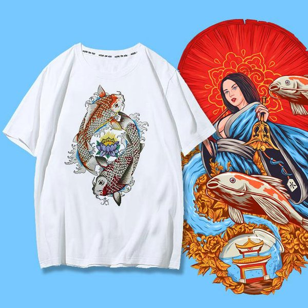 Koi fish t shirt Fancy carp short sleeve tees Lucky gown tops Fadeless print clothing Pure color colorfast modal tshirt