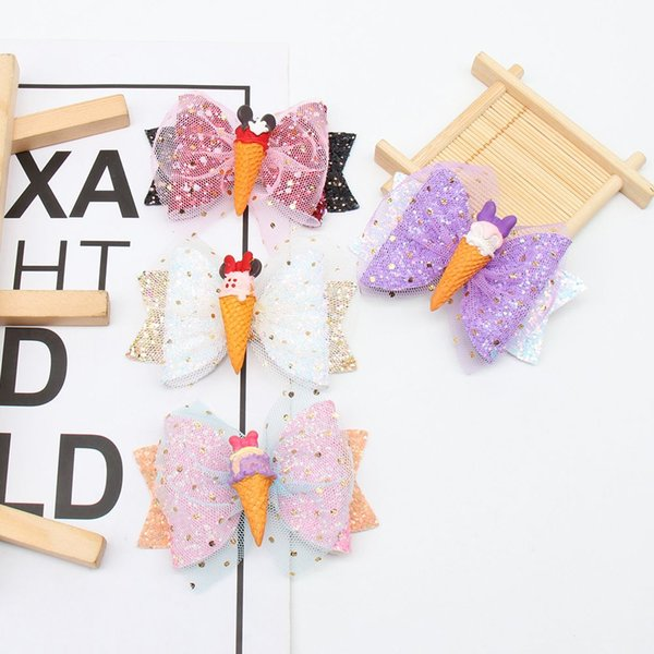 3 '' Korean Lace Hair Clips With Sequins Gold Star Ice Cream Knot Hairpin Fashion Layered Glitter Headwear Kids Hair Accessories