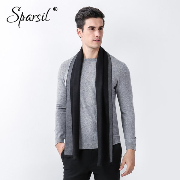 Sparsil Men Winter Cashmere Wool Scarf Solid Business Casual Warm Scarves Male Autumn Double Side Shawls Tassel Long Scarf