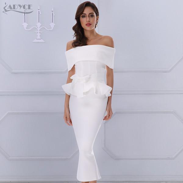 Adyce Bow&ruffles Ankle Length Celebrity Evening Party Dress 2018 New Women Bodycon Dresses Slash Neck Short Sleeve White Dress T190411