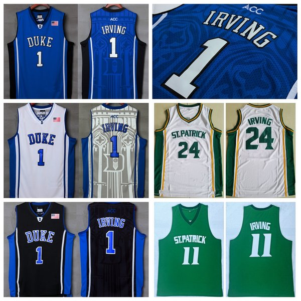 new styles 97ace 5403f 2019 Top Quality #1 Kyrie Irving Jerseys Duke Blue Devils Stitched Blue  White Black Mens NCAA University College Kyrie Irving Basketball Jerseys  From ...