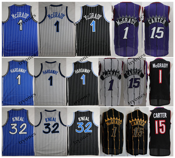 top popular NCAA Vintage 1 T-Mac Tracy McGrady Vince Carter 15 Shaquille O'Neal Shaq 32 Penny Hardaway Basketball Jersey 2020