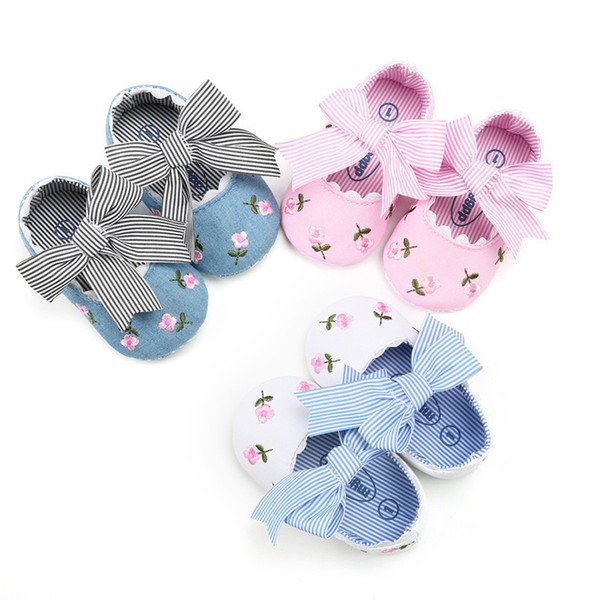 3 Color Baby Girl Shoes Toddler Kids Fashion Embroidery Flower Butterfly-knot First Walkers Kids Shoes NDA84L23