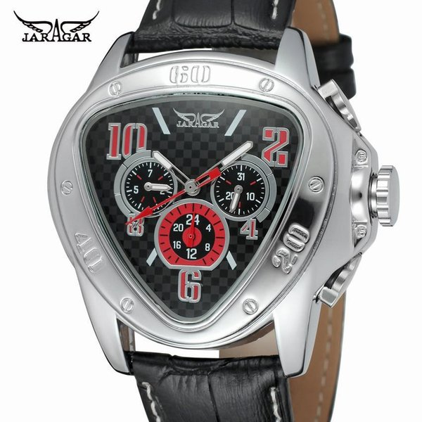 Hot sale JARAGAR mechanical watch triangle table C week calendar three eyes men's automatic mechanical watch men's watch