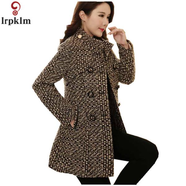 Women's Plaid Coat 2018 Winter Wool Jacket Long Coats For Ladies Woollen Autumn Jackets Korean Thickening Clothes LZ883 SH190924