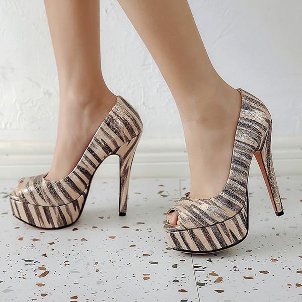 493a214a8 Sexy High Heels Women Shoes Platform Peep Toe Wedding Shoes Women Pumps  golden silver Woman High
