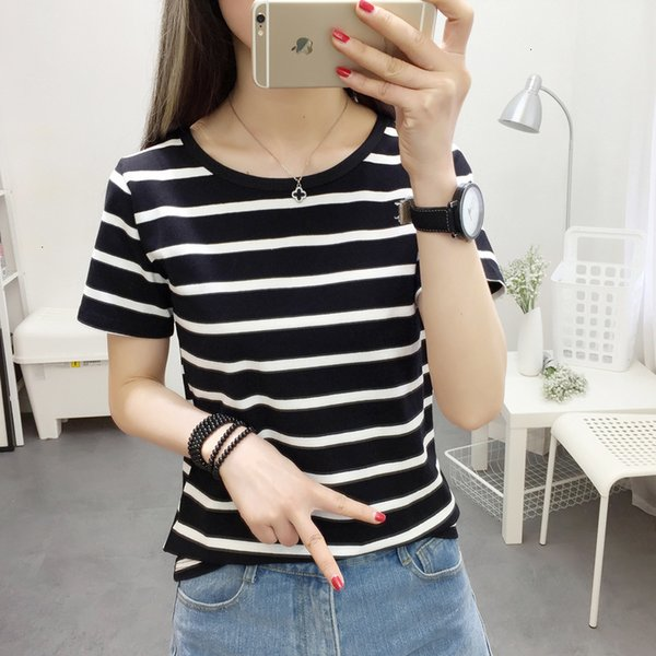 2019 Women Short Sleeve T-shirts Slim And Easy Stripe Printing Comfortable Exquisite For Female Fashionable