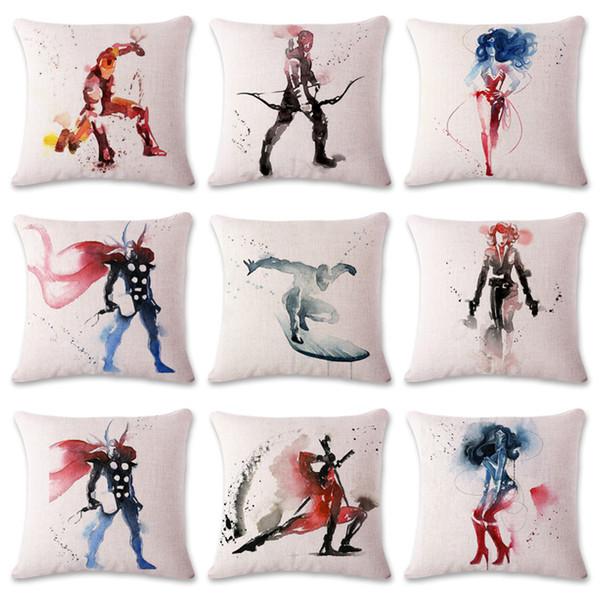 100PCS 45*45cm Watercolor Superhero Decorative Pillow Case Throw Comic Cushion Cartoon Living Room Bedroom Sofa Decor pillow cover