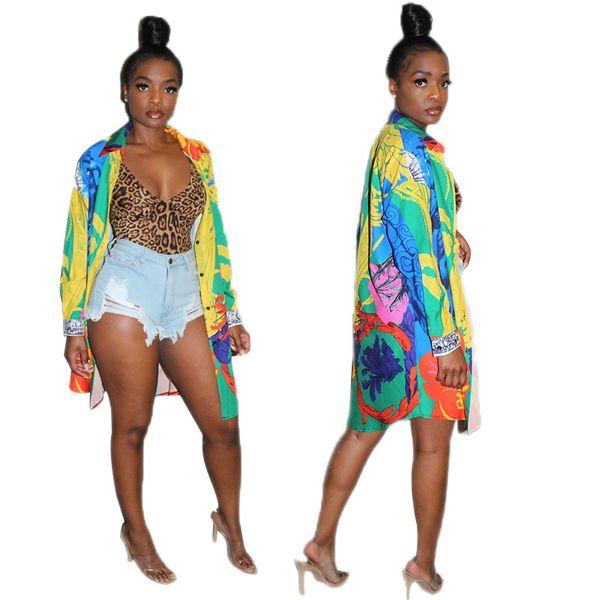 2019 été Automne Multicolore Impression Manches Longues Femmes Longue Chemise Blouse Revers Cou Boutons Mode Chemises Outwear Casual Tops Manteaux