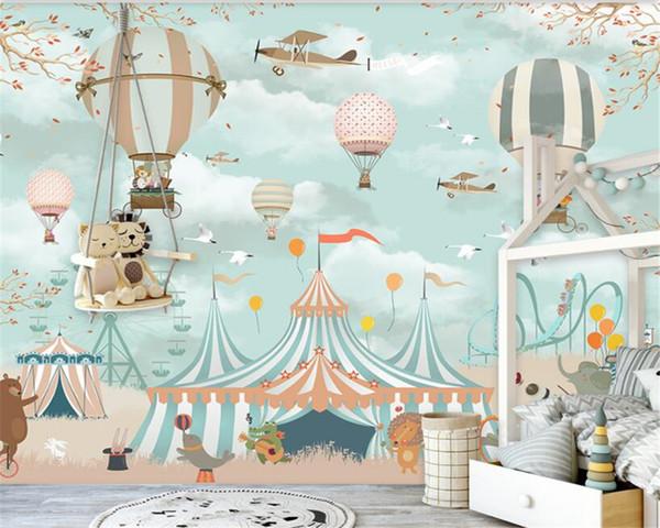 Grand 3d papier peint de bande dessinée ballon à air chaud avion chiot cirque aire de jeu fond mur 3d papier peint murale