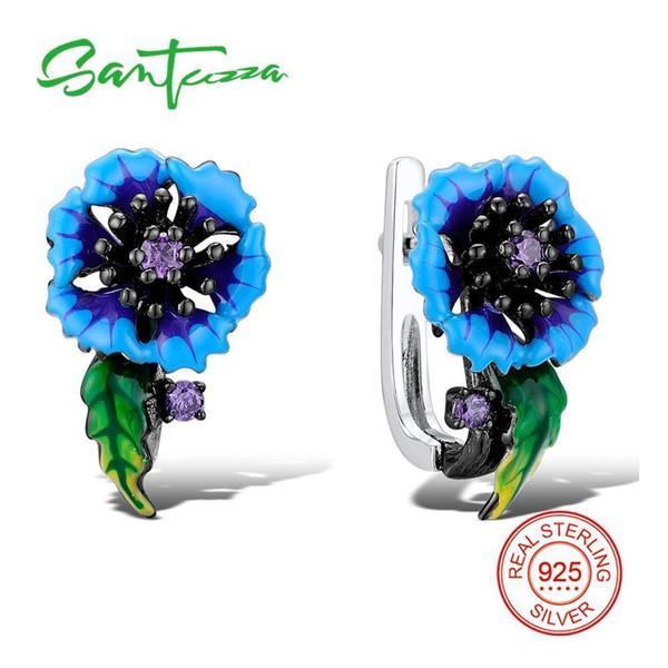 Santuzza Silver Blue Flower Earrings For Women 925 Sterling Silver Earrings Cubic Zirconia Brincos Chic Jewelry Handmade Enamel T7190617