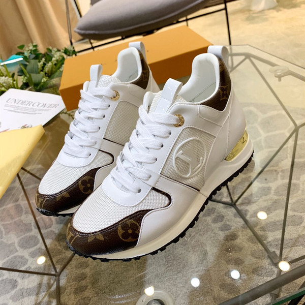 best selling Explosion men's women's RUN AWAY SNEAKER 1A4XNL Calf leather and patent Monogram canvas gold-tone metal plaque Circle logo running shoes