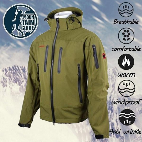 Soft Shell lã quente Escalada Jacket ao ar livre dos homens de inverno dos homens Multi-funcionais cor sólida Montanhismo Ski Pesca Camping