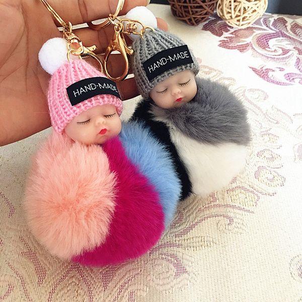 Cute Sleeping Baby Doll Keychain Pompom Rabbit Fur Ball Carabiner Key Chain Keyring Women Kids Key Holder Bag Pendant key Ring Gifts RRA2720