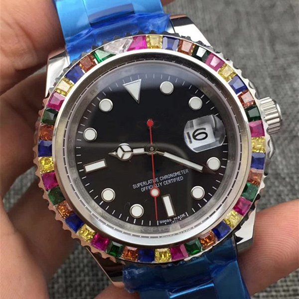 Luxury Mens designer watches Classic Colorful diamond Bezel Automatic Mechanical Movement wristwatches Rubber Strap 116695 Sports Watch