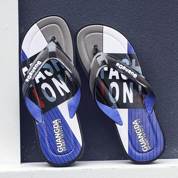 Black Rubber Slide Sandal Slippers blue Red black Stripe Fashion Design Men Women Classic Ladies Summer Outdoor Flip Flops