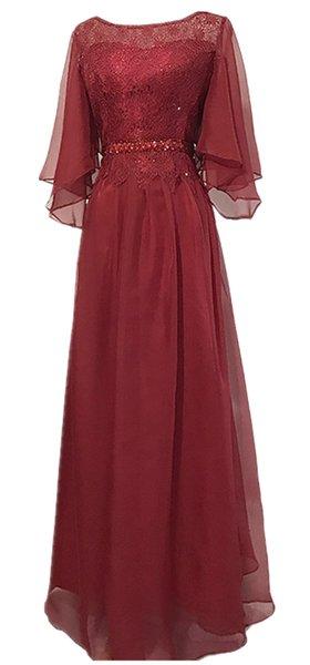 Imagen real Tallas grandes Chifón de cristal Borgoña Longitud del piso 3/4 Manga Encaje Vestidos para la madre de la mujer Vestidos de noche formales para fiestas