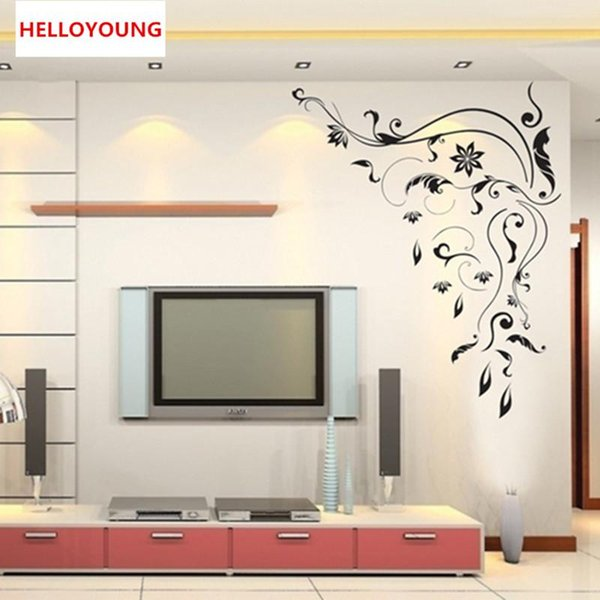 DIY Cartoon Wall Sticker All-match style Removable Black vine pattern Mural Art Waterproof Carved backdrop Wall Stickers