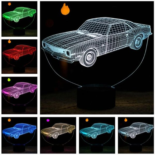 Creative 3D Animation Cars 7 Colors Chaning LED Night Light Bedroom Sleeping Decor Lamp Novelty Kids Boys Man Friend Birthday Xmas Toys Gift