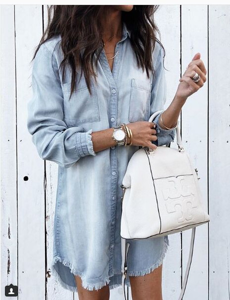 Free Ship 2019 New Women Fashion Denim Cloth Mini Dress Casual Slim Long Sleeve Shirt Dresses Vestidos