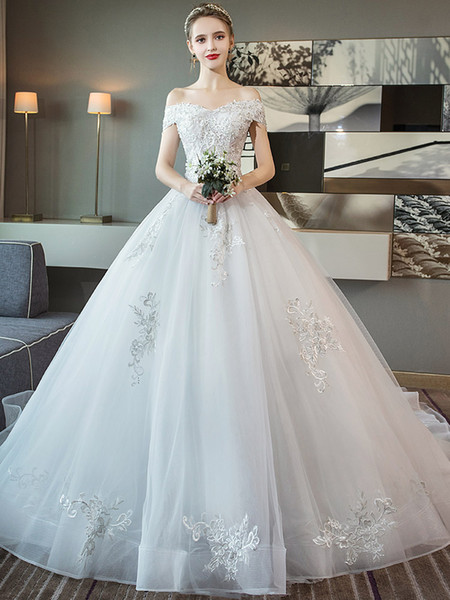 Word Shoulder Thin Tail Wedding Dress