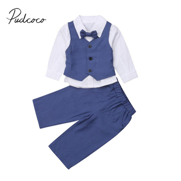 2019 Brand New 1-6Y Toddler Kids Baby Boy Wedding Formal Suit Gentleman Bowtie+ Top+ Vest Coat+ Wide Pants Outfits 3PCS Clothes