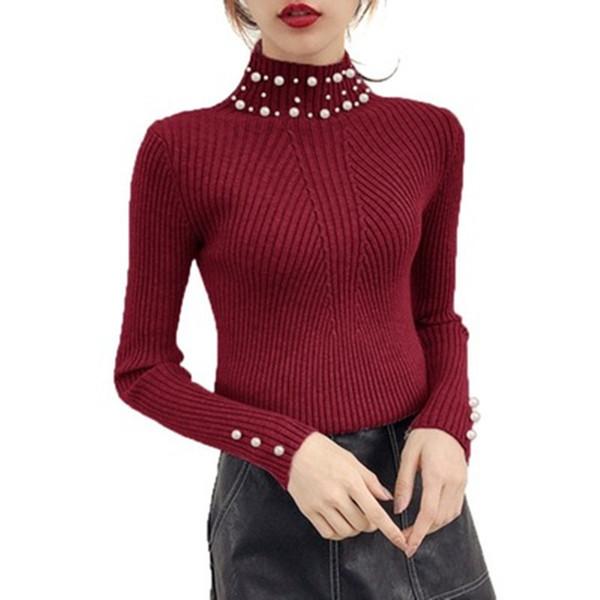 Nuove donne autunno e inverno perla perline maglione o-collo manica lunga Slim donne maglia maglione e pullover Sw854