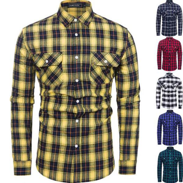 Homens Primavera Outono Venda Quente Xadrez Impresso Puro Algodão Camisas de Manga Longa Camisa, Ruff-down Collar Double Pockets Camisas Casuais