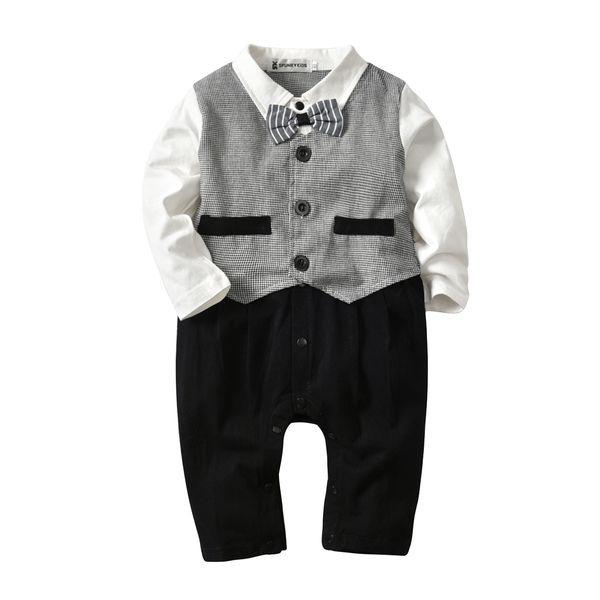 Children's wear baby boy clothes children's jumpsuit long-sleeved romper boy's bow tie gentleman gray fake two-piece dress