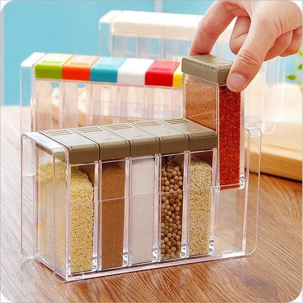 Kitchen Seasoning Bottles Jars Boxes Plastic Spice Lid Can Sugar Layers Storage Organizer Box Home Organization Accessories Item