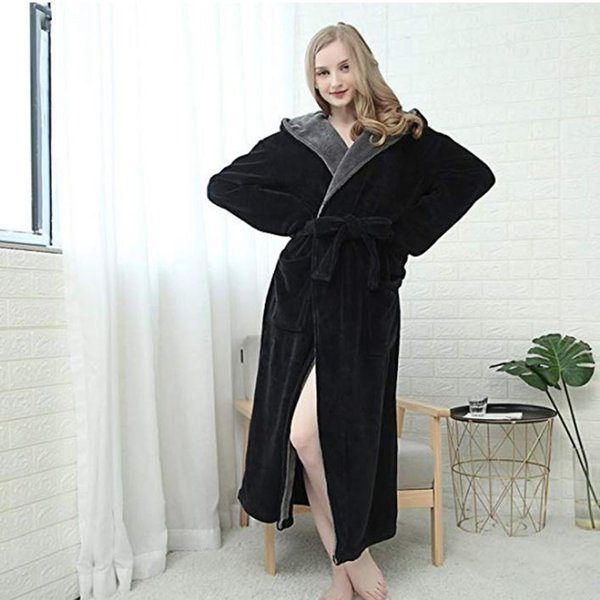 Women Winter Hoodie Women Soft Spa Full Length Warm Light Bathrobe female solid colour Long Sleeve hooded nightgown sleep Robe