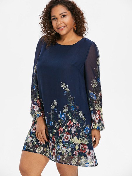 Wipalo Navy Blue Plus Size Floral Embroidery Tunic Dress Spring Summer Elegant Large Sizes Tribal Flower Print Vocation Dress Y19053001