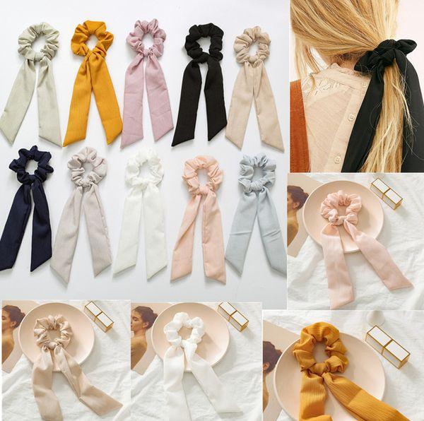 Color sólido de la vendimia Scrunchies del pelo del arco de las mujeres accesorios de las bandas del pelo Lazos Scrunchie Ponytail Holder Cuerda de goma Decoración Big Long Bow
