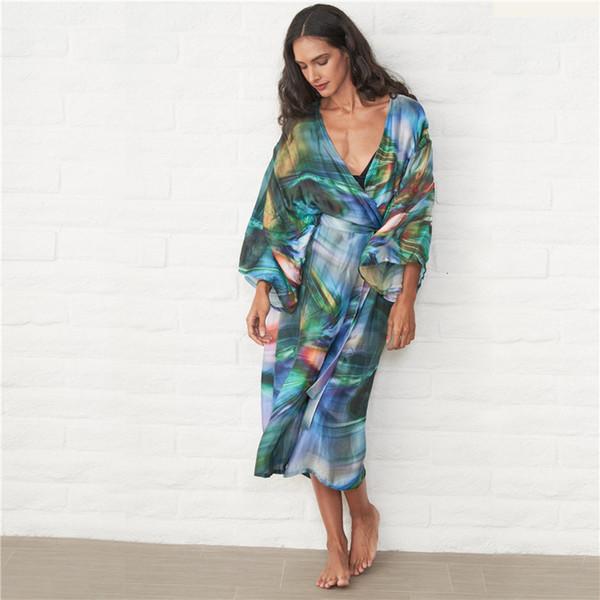 2019 Kimono Beach Swimwear Print Women Beach Dress Plus Size Bathing Suit  Cover Ups Robe De Plage Beachwear Sarong Saida De Praia From Fashluck, ...