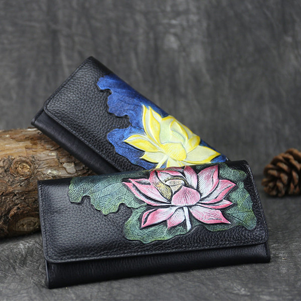 Chinese Style Lotus Long Women Wallets Lady Purses Female New Luxury Phone Tassel Coin Pocket Designer Full-Grain Leather Card Holder