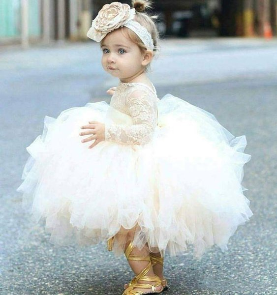 Cute Baby Tutu Ball Gown Flower Girl Dresses Lovely Infant Toddler Baptism Brithday Party Wear With Lace Top Long Sleeve Puffy Pageant Gowns